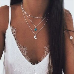 Jewelry - Miltilayer Boho Moon Pendant Necklace NWoT